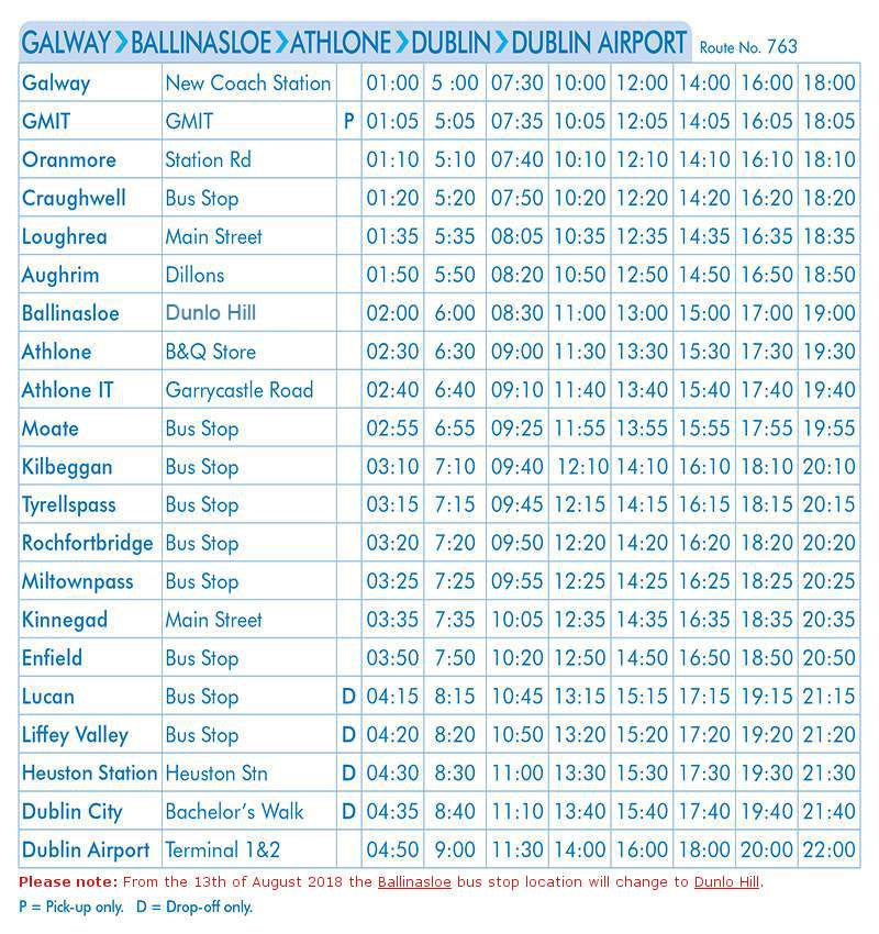 Galway-Ballinsloe-Athlone-Dublin-Dublin Airport (Commencing August 13th)