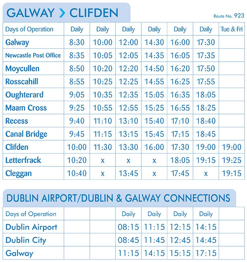 Galway - Clifden Timetable(From the 21st of May)