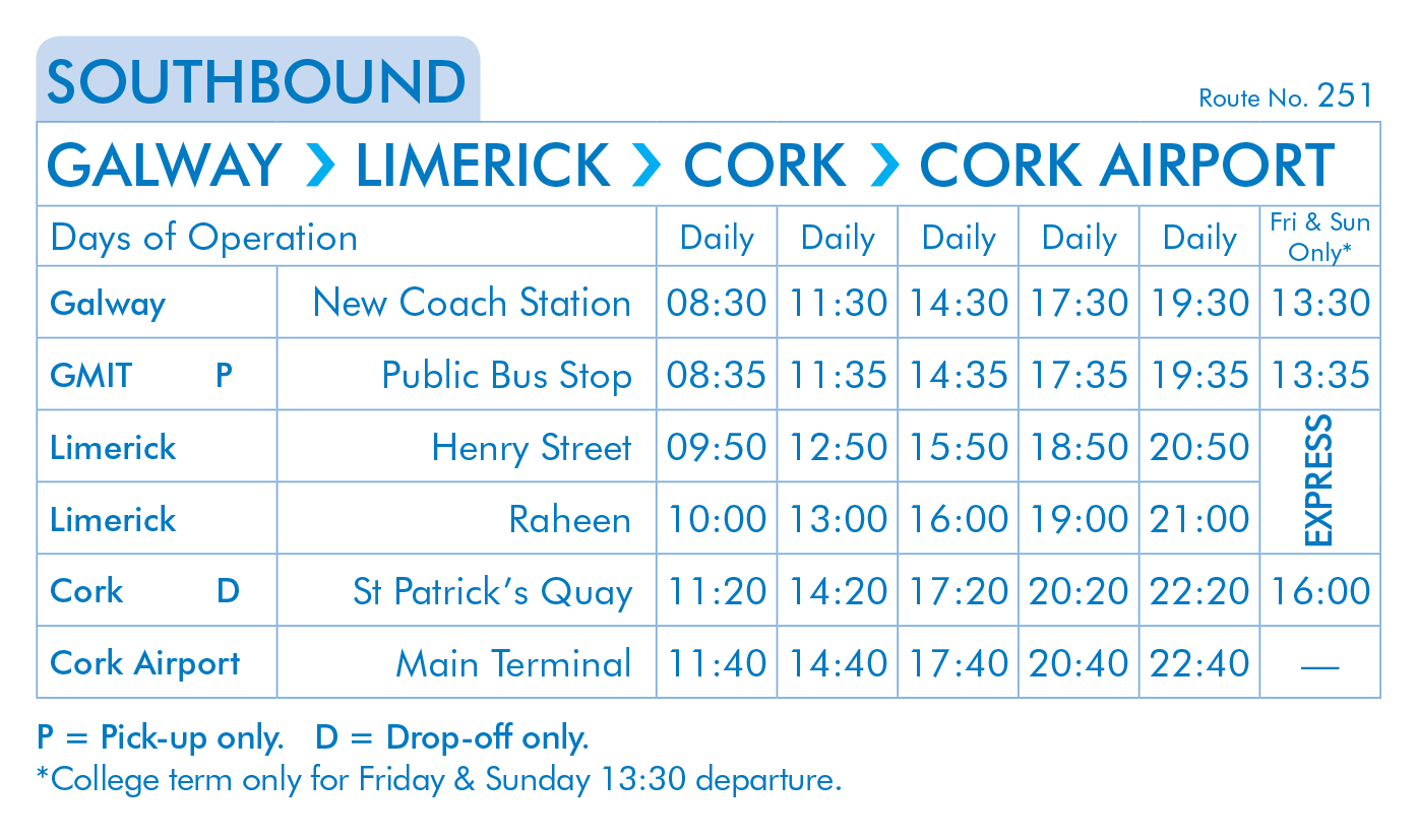 Citylink Timetables - Limerck to Dublin, Galway Bus etc