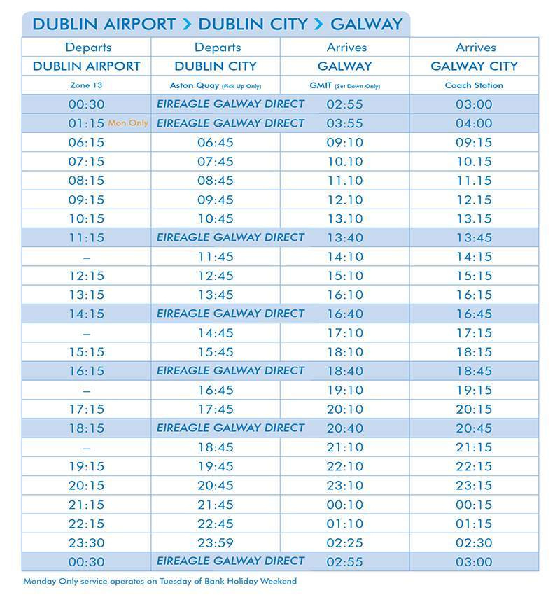 Citylink Timetables Galway To Dublin Bus Service